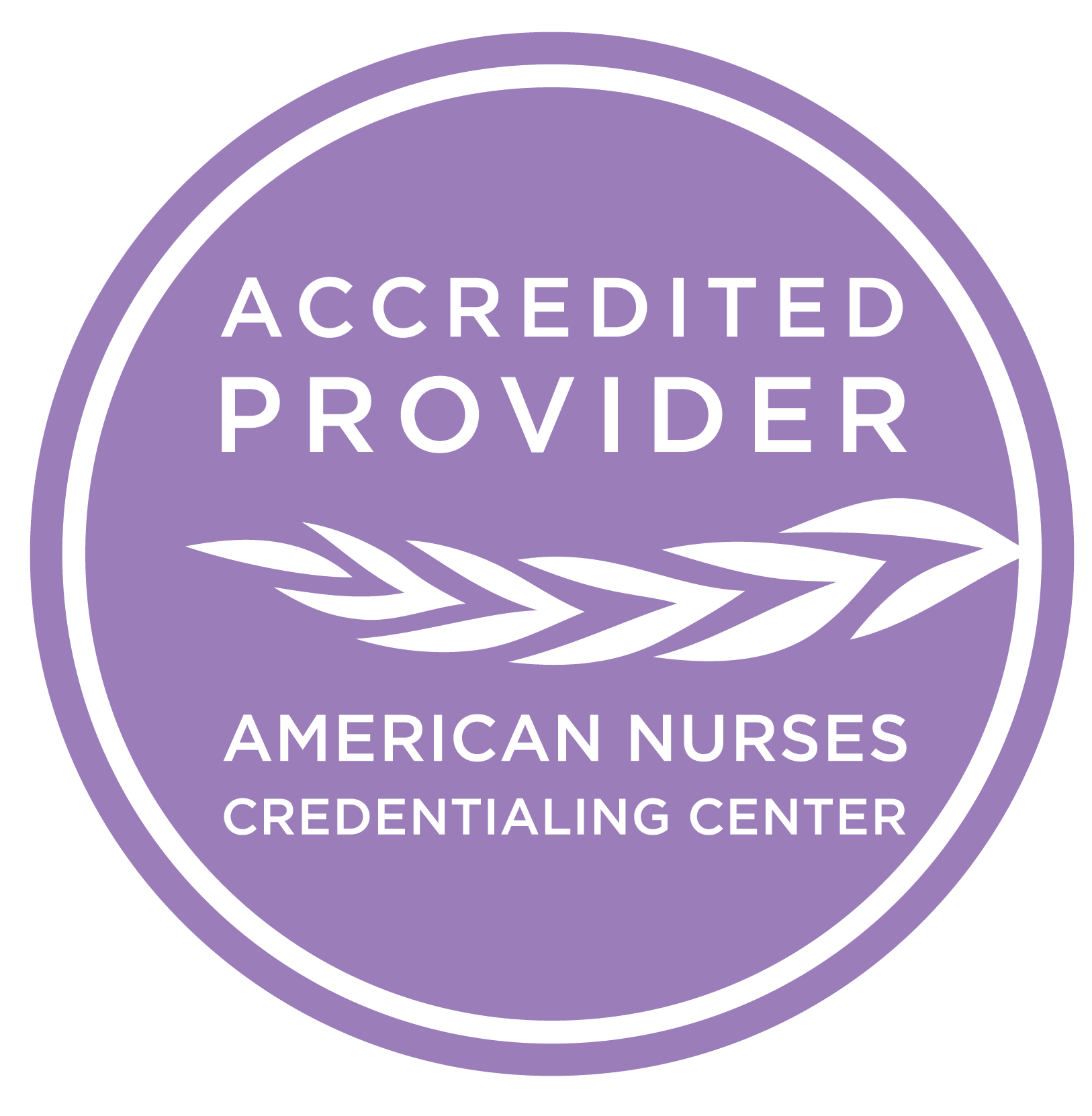 Accredited Provider. American Nurses Credentialing Center Logo.